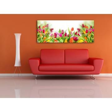 Coloured tulips - tulipánok - no. 100153 - vakrámára feszített vászonkép
