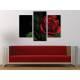 Három részes vászonkép - Black & Red - vörös rózsa vászonkép 3a-100298
