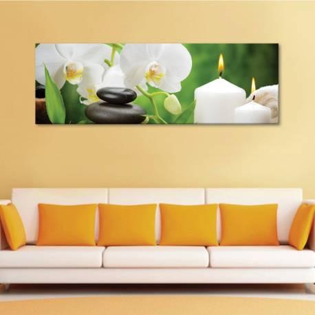 Spa relaxing - fehér orchidea - feng shui - vászonkép
