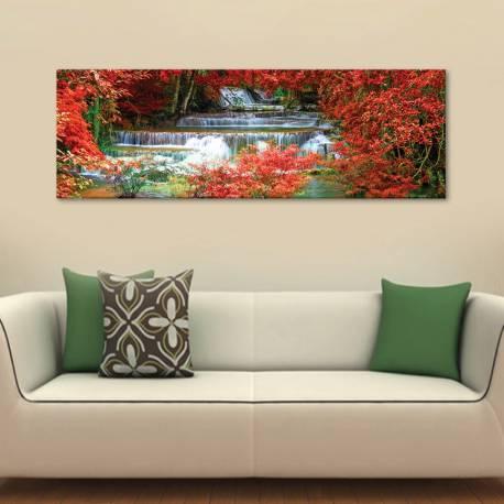 Waterfall between red leaves - vízesés - vászonkép