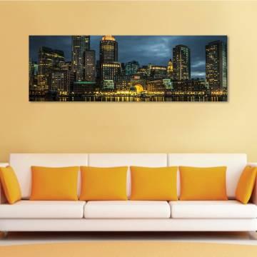 Yellow lights city - kivilágított város - vászonkép
