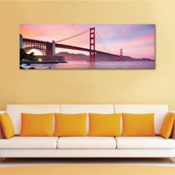 Golden Gate over river - Híd a folyó fölött - vászonkép