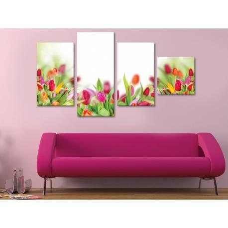 Coloured tulips - tulipánok - 4 részes vászonkép