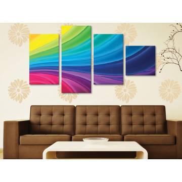 Color curves - színes ívek - 4 részes vászonkép