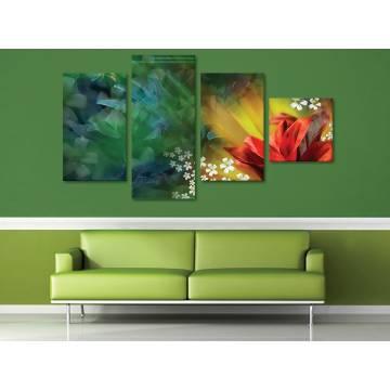Abstract flowers - absztrakt virágok - 4 részes vászonkép