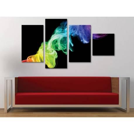 Colorsmoke in darkness - színes füst absztrakt - 4 részes vászonkép