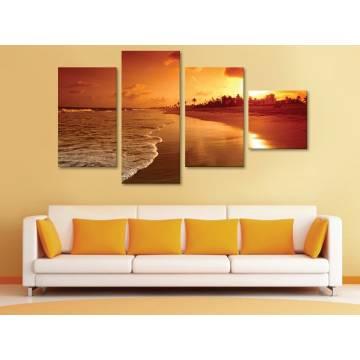 Yellow sunset at beach - napnyugta a tengerparton - 4 részes vászonkép