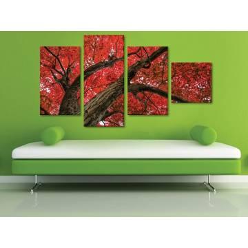 Red leaf tree - vörös levelek - 4 részes vászonkép