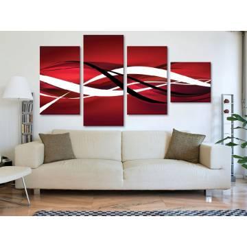 Red abstraction - absztrakt - 4 részes vászonkép