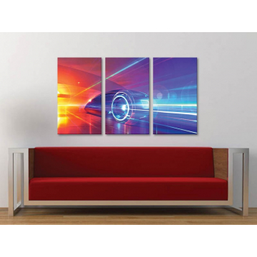 Három részes vászonkép - Neon speed - 3a-100176