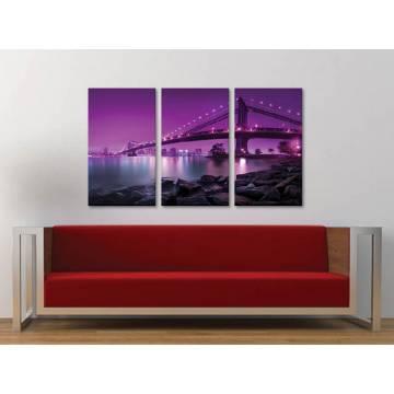 Három részes vászonkép - Brooklyn Bridge - purple ed. - New York Brooklyn bridge no. 3a-100158