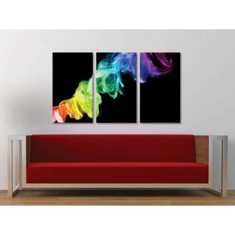 Három részes vászonkép - Colorsmoke in darkness - színes füst absztrakt vászonkép - no. 3a-100167