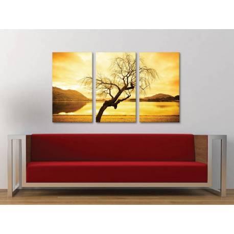 Három részes vászonkép - Yellow sky tree alone - magányos fa - 3a-100181