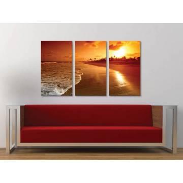 Három részes vászonkép - Yellow sunset at beach - napnyugta a tengerparton 3a-100185