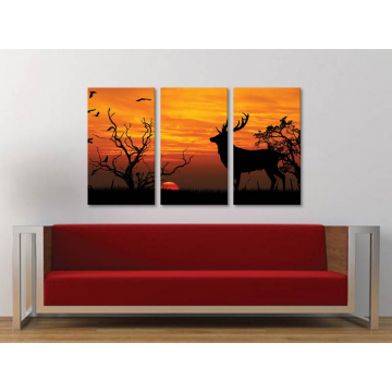 Három részes vászonkép - Contour of Golden deer - szarvas a naplementében - vászonkép - 3a-100195