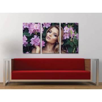 Három részes vászonkép - Woman with flowers - nõi arc vászonkép - 3a-100199