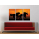 Három részes vászonkép - Horses at sunset - lovas vászonkép - 3a-100203