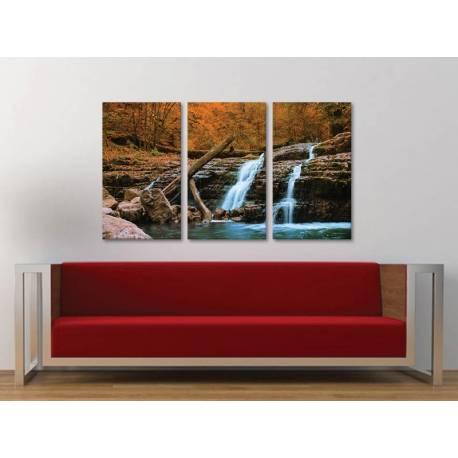 Három részes vászonkép - Waterfall in forest - erdei vízesés vászonkép 3a-100242