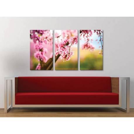 Három részes vászonkép - Pink bloom - Rózsaszín virágzás - vászonkép 3a-100292