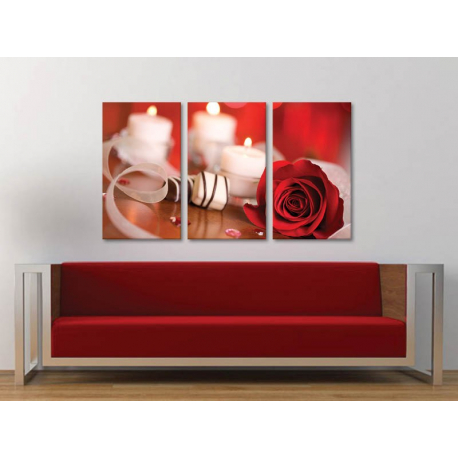Három részes vászonkép - Simply beautyful red rose - vörös rózsa dísz vászonkép 3a-100297