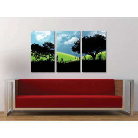 Három részes vászonkép - Modern meadow silhouette - modern rét vászonkép 3a-100304