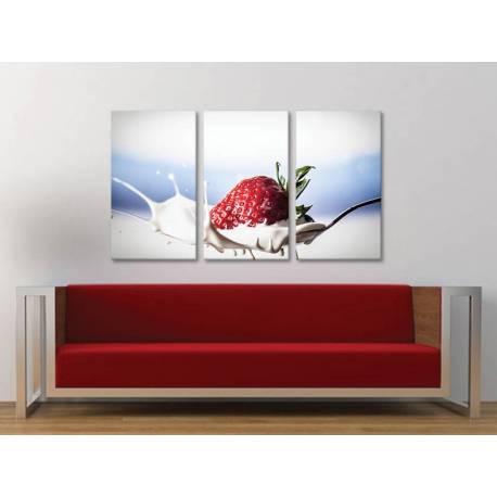Három részes vászonkép - Strawberry splash - modern vászonkép 3a-100310