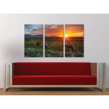 Három részes vászonkép - It's a beautyful morning - egy reggel a lovakkal vászonkép 3a-100350