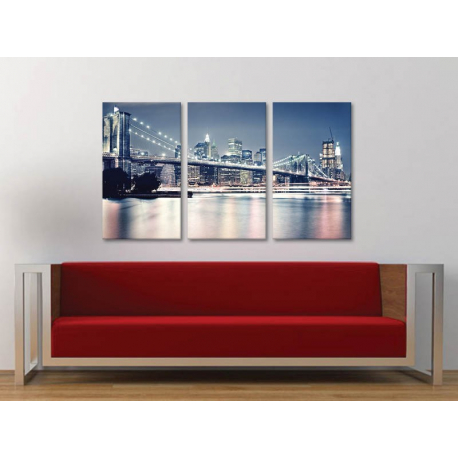 Három részes vászonkép - Brooklyn Bridge - Brooklyn híd New York - vászonkép 3a-100401