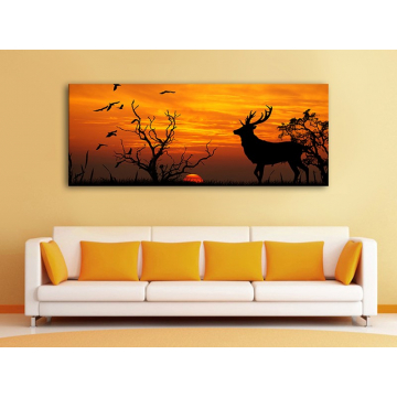 Contour of Golden deer - szarvas a naplementében - vászonkép - 100195