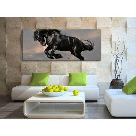 The balck horse - fekete ló vakrámára feszített vászonkép 100238