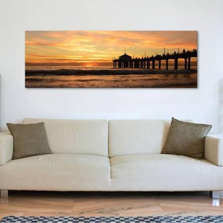 Yellow beach - tengerpart naplemente vászonkép - 1