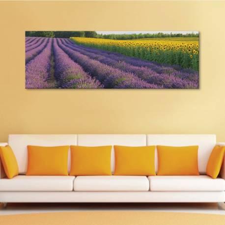 Levanders and sunflowers - levendula és napraforgó vászonkép - 1