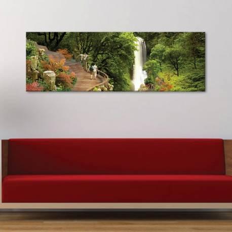 Waterfall in the forest - vízesés vászonkép - 1