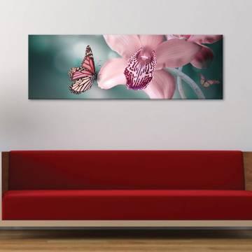 Butterfly likes orchid - pillangó és orchidea - vászonkép