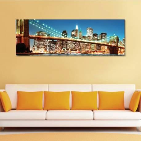 New York bridge lights bright - vászonkép