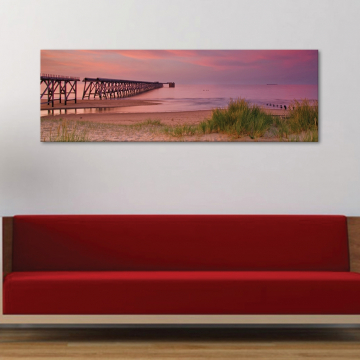 Purple sunset beach - lilás naplemente a tengerparton - vászonkép