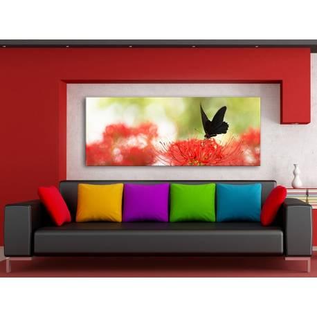 Contrast - Fekete pillangó, piros virág vászonkép 100397