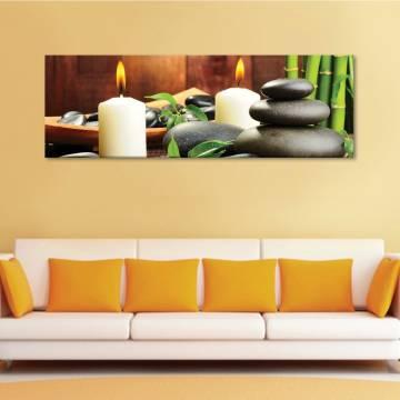 Candle & stone - Relax - vászonkép