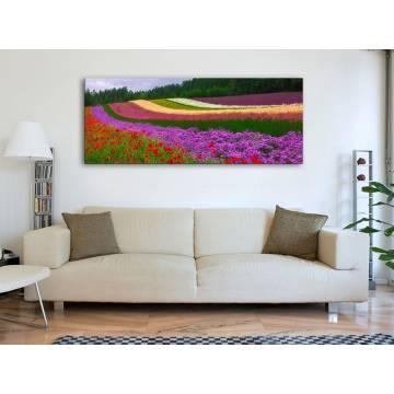 Colorful flower lines - színes virágok vászonkép 100420