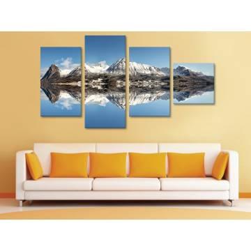 Mountain reflection - hegyek - 4 részes vászonkép