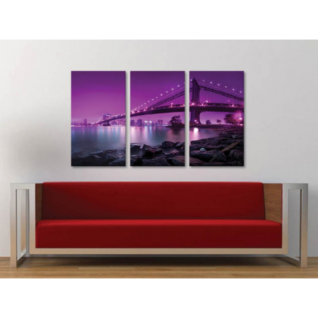 Három részes vászonkép - Brooklyn Bridge - purple ed. - New York Brooklyn bridge no. 3a-100158 - 1