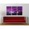 Három részes vászonkép - Brooklyn Bridge - purple ed. - New York Brooklyn bridge no. 3a-100158 - 1