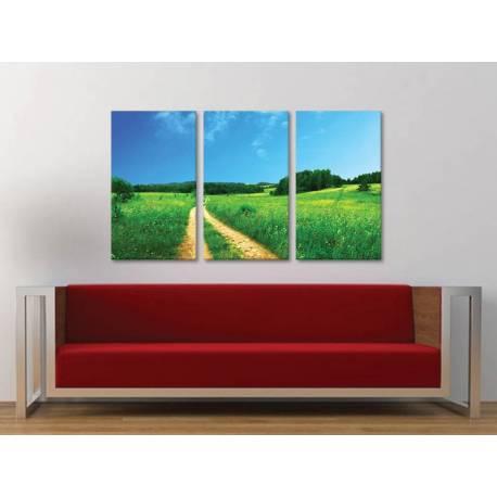 Három részes vászonkép - Road'n meadow - földút a réten - no. 3a-100159 - 1
