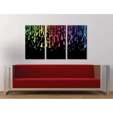 Három részes vászonkép - Color drops - színes cseppek - no. 3a-100163
