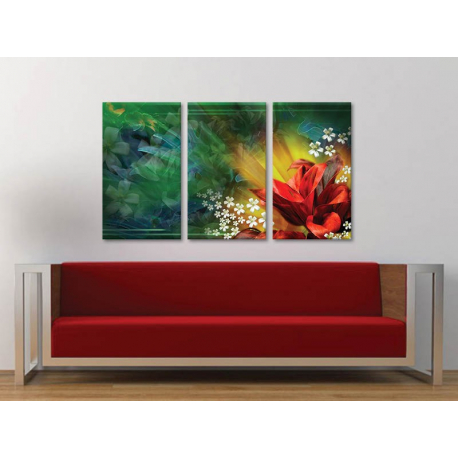 Három részes vászonkép - Abstract flowers - absztrakt virágok - no. 3a-100165