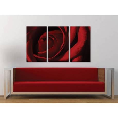 Három részes vászonkép - Red rose makro - vörös rózsa vászonkép 3a-100230 - 1