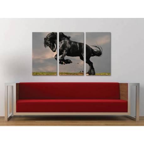 Három részes vászonkép - The balck horse - fekete ló vakrámára feszített vászonkép 3a-100238 - 1