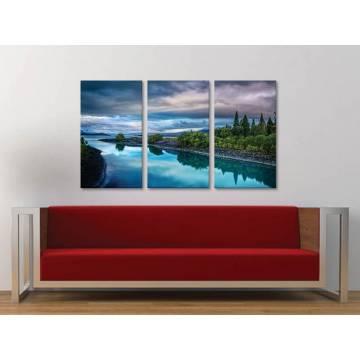 Három részes vászonkép - The blue lake - kék tó vászonkép 3a-100240