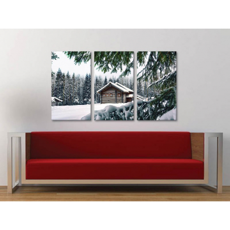 Három részes vászonkép - Cottage in the woods - erdei ház vászonkép 3a-100258