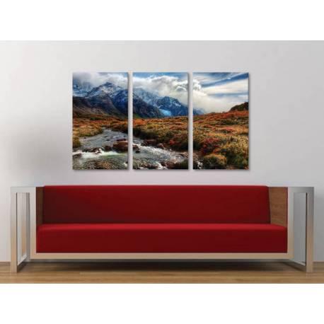 Három részes vászonkép - Mountain stream - hegyi patak tájkép vászonkép 3a-100260